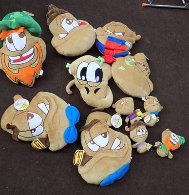 Box of new novelty cushions, size approx. 16 x 5 inches, Plush Toys - Joe Turds, Turd World