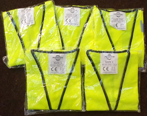 5 assorted hi-viz slip over jackets - sizes L and 2x XL