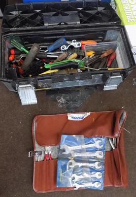 Tool box full of tools and 2 Halford spanners