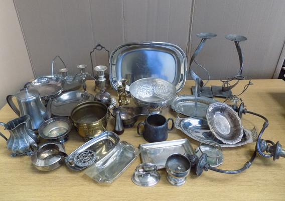 Box of antique + vintage silver plated ware
