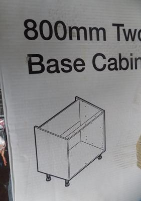 1x 800mm new boxed 2 drawer base cabinet carcass (more available at matching hammer price)