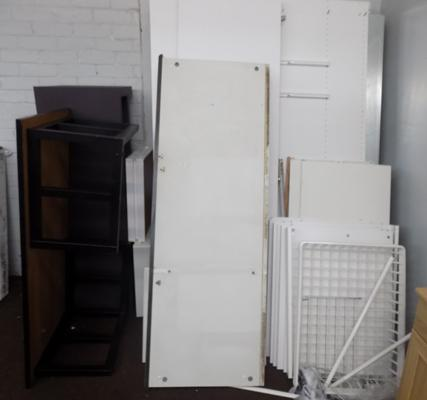 Two double wardrobes, complete but require assembly & 2 large coffee tables
