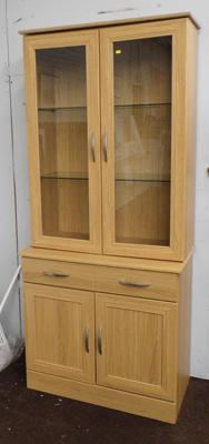 Modern cabinet with glass top, one drawer & cabinet
