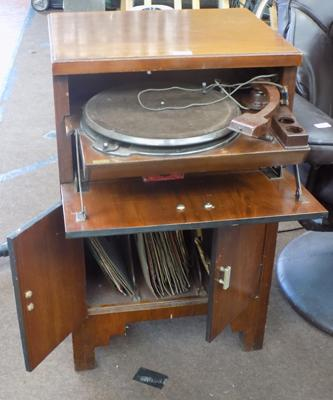 78s record player in cabinet + selection of 78s