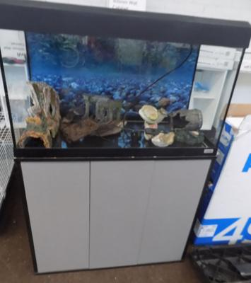 Fish tank and ornaments plus cabinet
