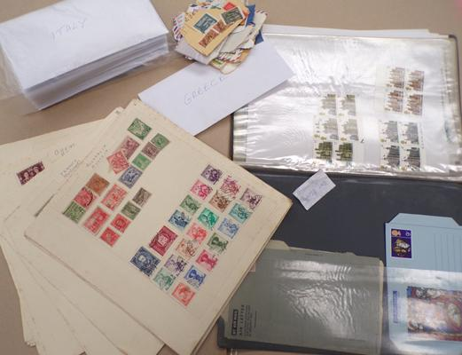 Selection of world stamps and unused postal stamps