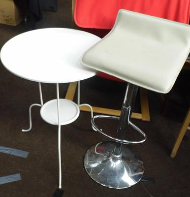 Round metal table and cream bar stools