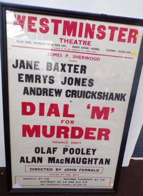 "Original 1950's theatre poster 'Dial M for murder' framed 31"" x 21"""