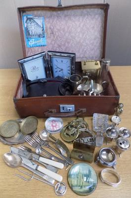 1950's suitcase of antique & vintage collectables