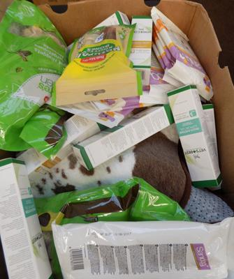 Box of new pet products
