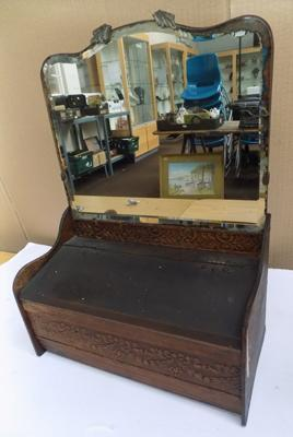 Antique Victorian mirror backed candle box