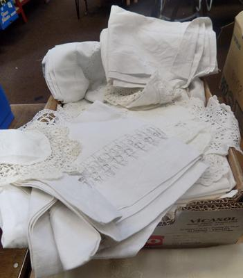 Box of linen - some vintage
