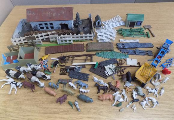 Box of Britains 1950's farm animals, buildings, characters, vehicles etc...