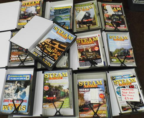 Collection of steam railway magazines in box files
