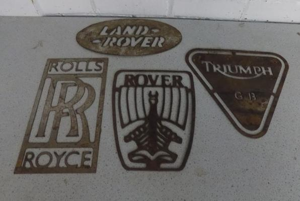Four vintage metal stencil signs - Land Rover, Rolls Royce, Rover & Triumph