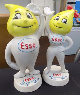 Cast iron Esso Abby Slick and Andy Slick money boxes