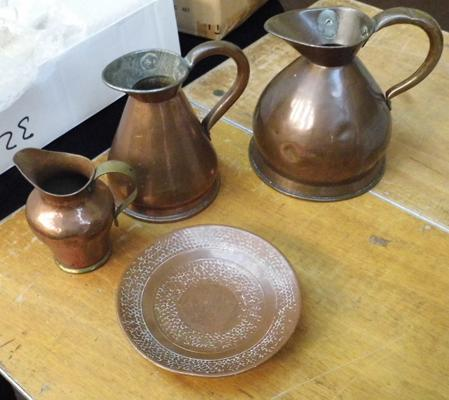 Vintage copper jugs, arts and crafts copper jug and plate