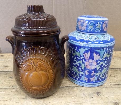 Vintage West German Rumtopf (12 inches) & ginger jar-damage to lid (10 inches)