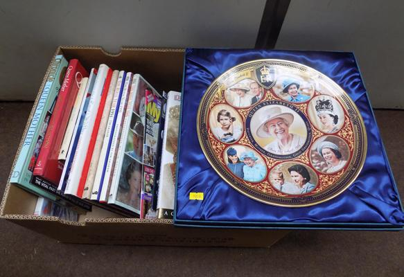 Box of assorted Royal Family books & Bradford Exchange Commemorative Queen plate