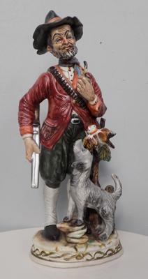 Capodimonte large hunter and dog figurine approx. 16.5 inches tall