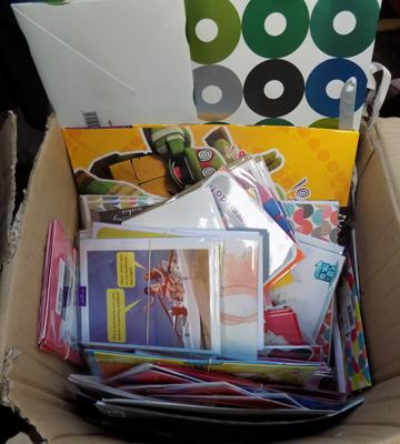 Box of new items incl. cards, gift bags etc.