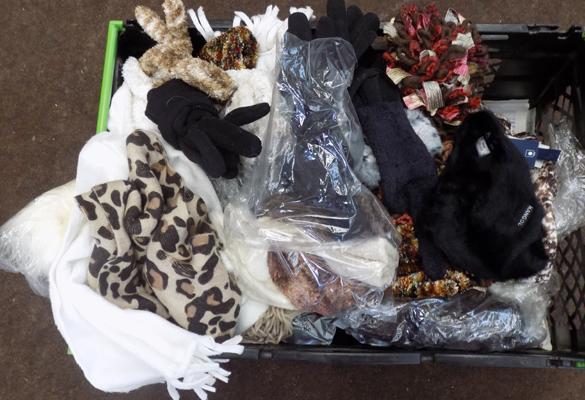 Large selection of faux fur hats and gloves