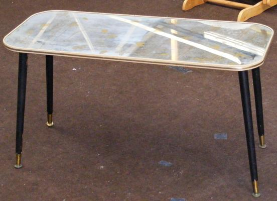 Vintage mirrored coffee table with dansette legs