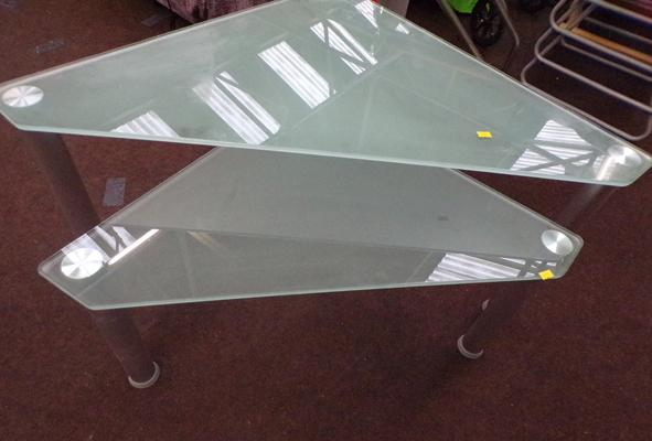 2x Triangular modern glass occasional tables