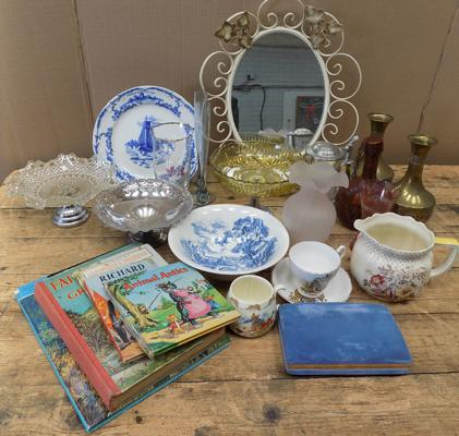 Basket of collectables inc Mappin & Webb, mirror etc