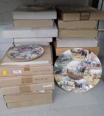 Large collection (over 20) of various boxed collector's plates, incl. Bradford Exchange etc..., with certificates