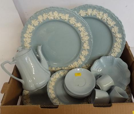 Selection of blue and white pottery incl. Wedgwood
