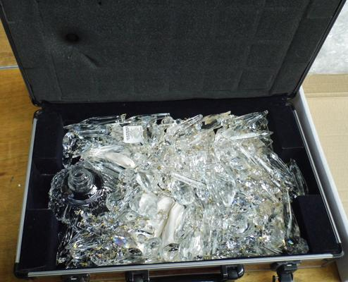 Large box of lead crystals