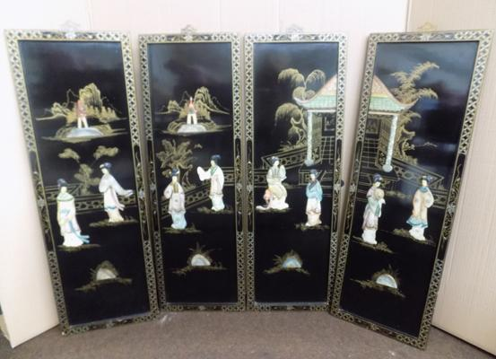 "4 Chinese lacquered hand painted panels - 36"" x 12"", raised Chinese lady figures in garden setting"