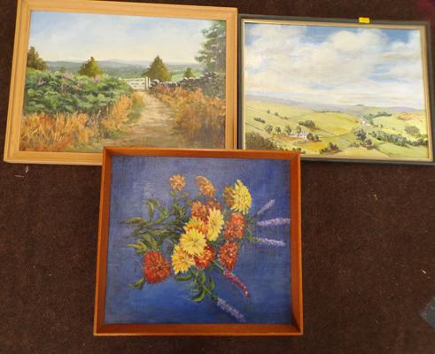 3x Original paintings, 1x oil, 2x watercolours, by late artist Kathleen Nunn