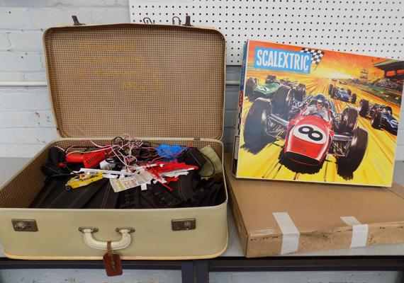 Suitcase and one box set of Scalextric