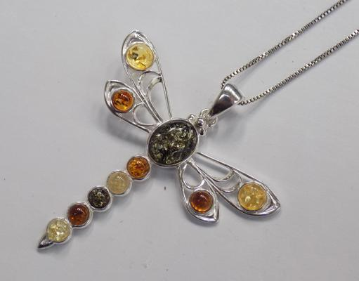 925 silver and amber dragonfly necklace