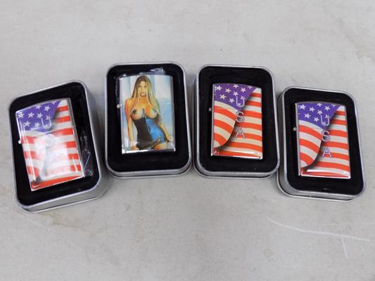 4 x brand new Hugo Buchsor Zippo style lighters in display tins, 3 x USA motif, 1 x glamour motif