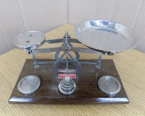 Antique postal scales with weights