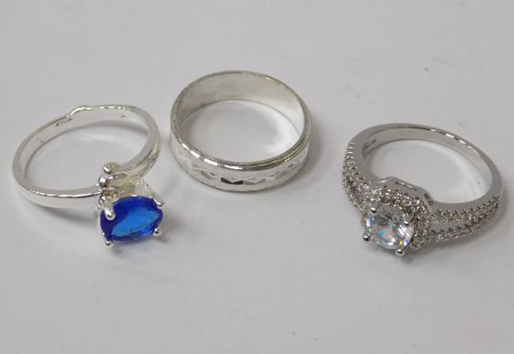 Three 925 silver rings - all approx. size N