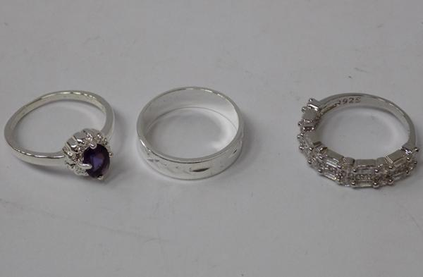 Three 925 silver rings - all approx. size O