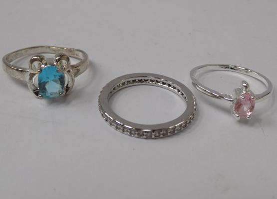 Three 925 silver rings - all approx. size P