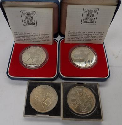 2x royal mint silver proof crows 1977 in box with certs. and 2x 1953 crowns