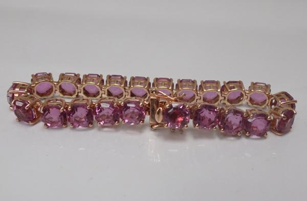 Large carat weight pink topaz bracelet set in sterling silver with 9ct overlay