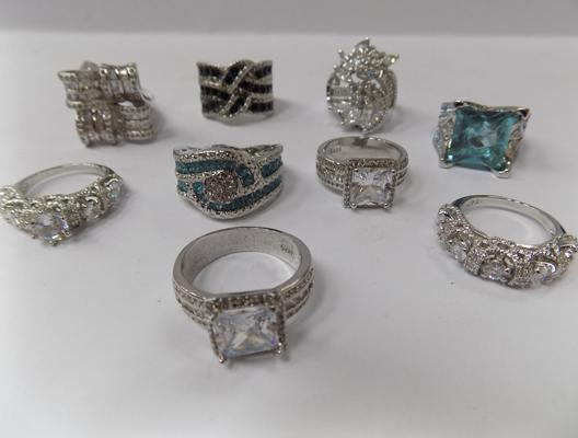 Selection of 925 silver costume rings