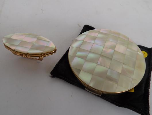 1950's Mother of Pearl Stratton compact + lipstick  holder