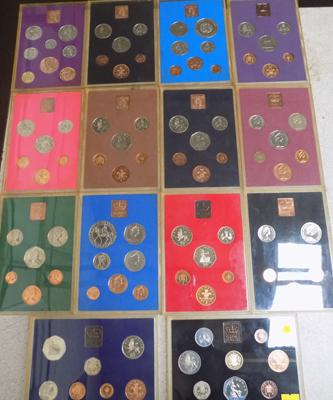 Complete date run of royal mint proof coin sets 1970 - 1983 (14 sets)
