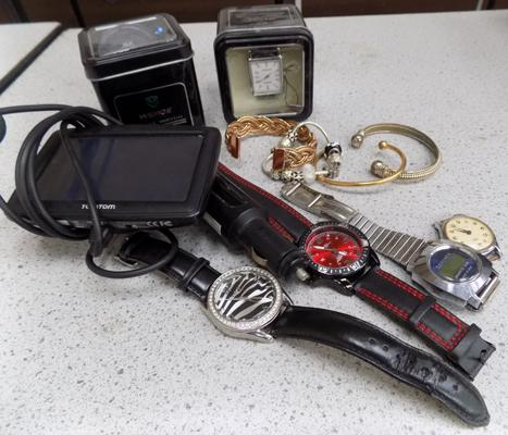 Selection of watches & jewellery + a Tom Tom