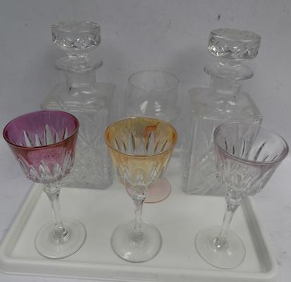 Selection of glassware inc 2 cut glass decanters