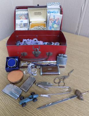 Small case of vintage items inc watches, pill box, early badges, jewellery inc silver etc