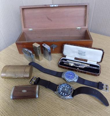 Vintage treen jewellery box with key, containing rolled gold watch, silver jewellery, lighters etc
